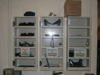 Safety goggle storage
